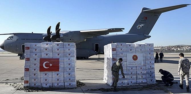 Amerika'ya giden yardım Uçağımıza, ABD medyası geniş yer verdi!