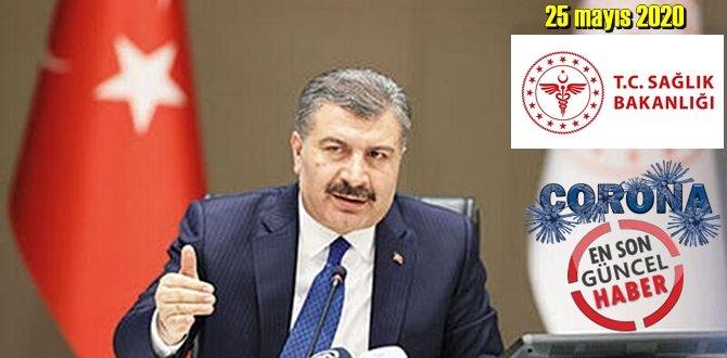 Bugün 25 mayıs 2020 Pazartesi/ Türkiye Koronavirüs veri tablosu haberimizde!