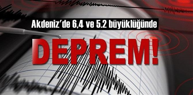 Girit Adası açıklarında 6.4 ve 5.2 şiddetinde 2 deprem hissedildi!