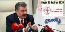 Bugün 23 Haziran 2020 Salı/ Türkiye Koronavirüs veri tablosu haberimizde!