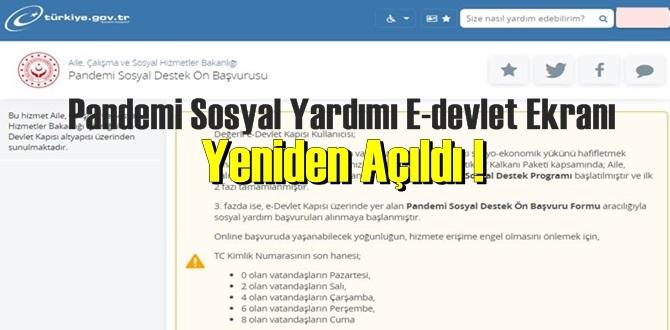 Pandemi Sosyal Yardımı E-devlet Ekranı Yeniden Açıldı !