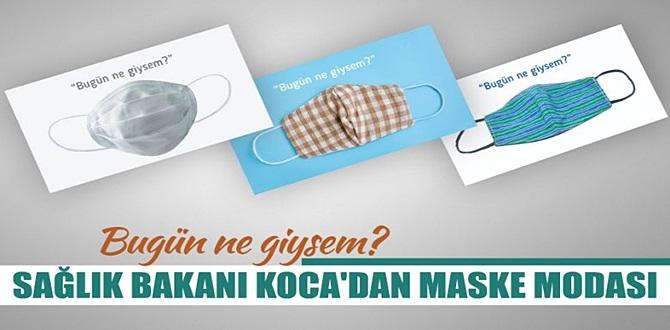 Fahrettin Koca, twitter hesabından 3 ayrı maske görseli paylaştı.