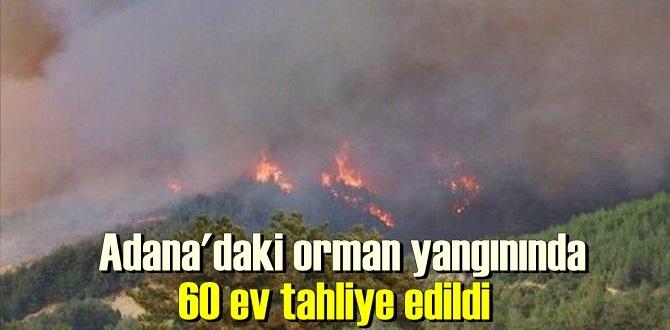 Kozan ilçesindeki yangının yerleşim yerlerini tehdit etmesi nedeniyle 60′ yakın ev boşaltıldı.