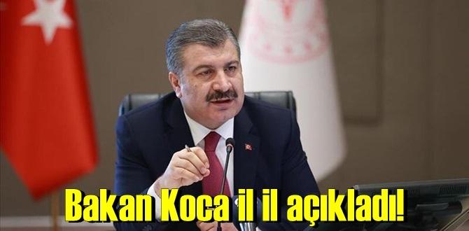 Sağlık Bakanı Fahrettin Koca, il il açıklayarak maske, mesafe ve temizlik uyarısında bulundu.