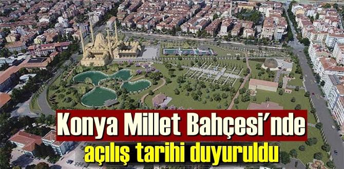 Konya'nın Selçuklu ilçesinde inşa edilen millet bahçesinde çalışmalar sürüyor.