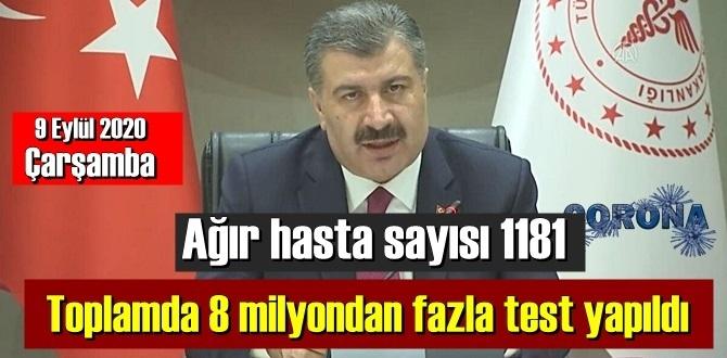 Bugün 9 Eylül 2020 Çarşamba/ Son 24 saatte Kovid-19 nedeniyle 55 kişi yaşamını yitirdi.!