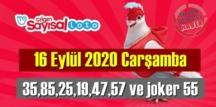 Sayısal Loto çekiliş sonuçları /16 Eylül 2020 Carşamba belli oldu! 35,85,25,19,47,57 ve joker 55