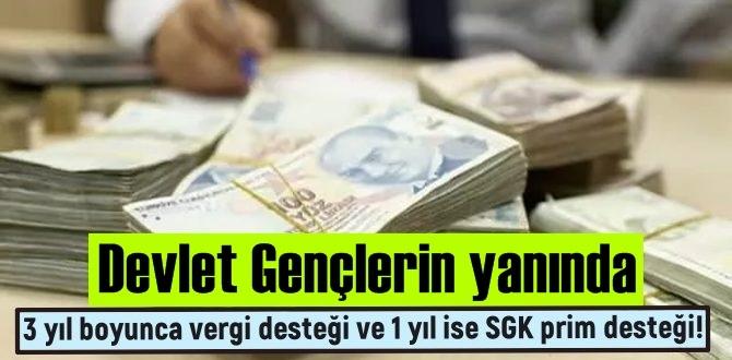 Devlet gençlerin yanında, işyeri açana 3 yıl boyunca vergi desteği ve 1 yıl ise SGK prim desteği!