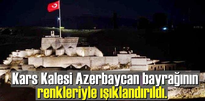 Kars Kalesi Azerbaycan bayrağının renkleriyle ışıklandırıldı.
