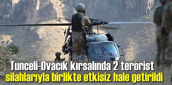 2 Ekim 2020/ İçişleri Bakanlığı: Tunceli-Ovacık kırsalında 2 terörist silahlarıyla birlikte etkisiz hale getirildi.