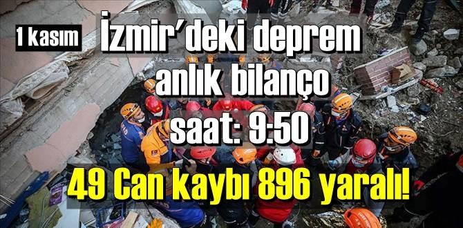 1 kasım pazar İzmir'deki deprem, saat: 9:50 Bilanço 49 Can kaybı 896 yaralı!