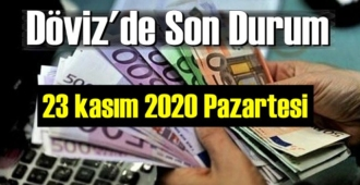 23 kasım 2020 Pazartesi Ekonomi'de Döviz piyasası, Döviz güne nasıl başladı