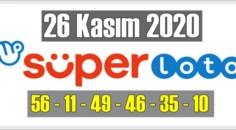 26 kasım perşembe 2020/ Süper loto sonuçları: 56 – 11 – 49 – 46 – 35 – 10