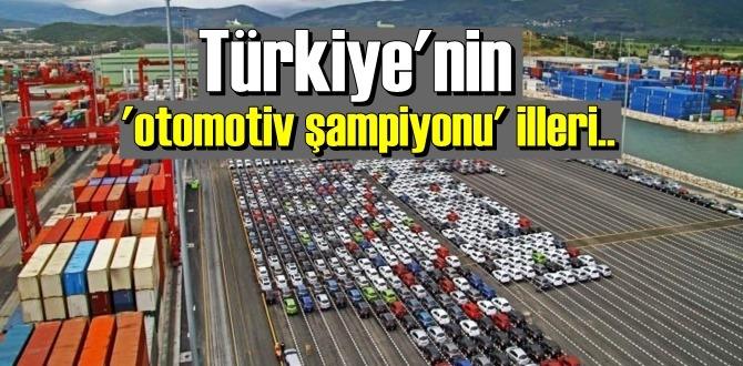 Türkiye'nin otomotiv şampiyonu illeri Bursa, Kocaeli ve İstanbul oldu.