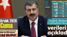 4 Aralık 2020 Cuma/ Türkiye Koronavirüs veri tablosu açıklandı