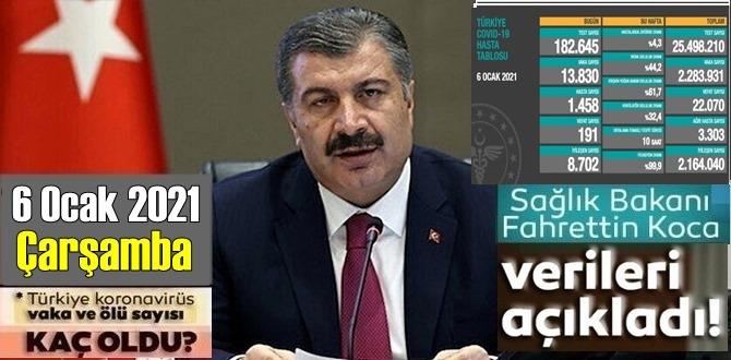 6 Ocak 2021 Çarşamba / Türkiye Koronavirüs veri tablosu açıklandı