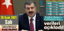 Bugün 26 Ocak /Türkiye Koronavirüs veri tablosu açıklandı, bugün 134 can kaybı açıklandı!