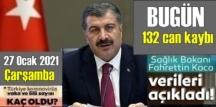 Bugün 27 Ocak /Türkiye Koronavirüs veri tablosu açıklandı, bugün 132 can kaybı açıklandı!