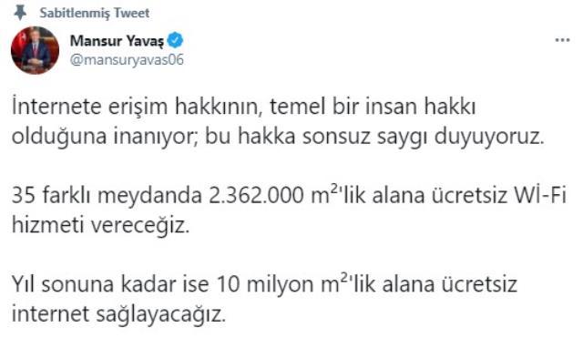 Mansur Yavaş'tan Ankaralılara müjde: Meydanlarda ücretsiz internet hizmeti verilecek