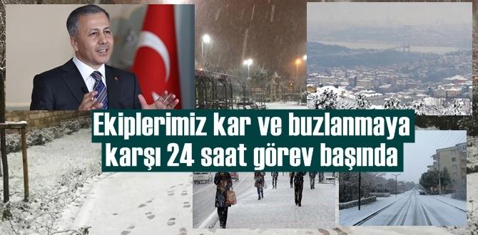 İstanbul Valisi Yerlikaya, yağan kar ile açıklamalarda bulundu, Ekiplerimiz 24 saat görev başında!