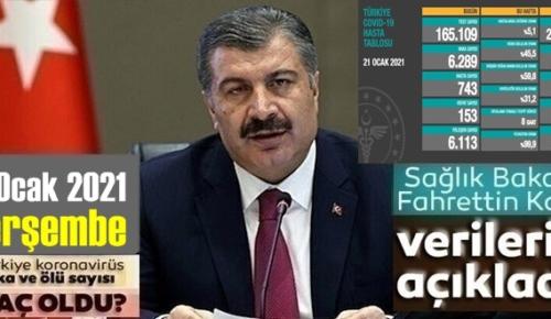 21 Ocak 2021 Perşembe/ Türkiye Koronavirüs veri tablosu açıklandı, can kaybı!