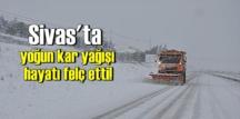 Sivas merkez ve ilçelerinde yoğun kar yağışı yüzlerce köy yollarını ulaşıma kapadı!