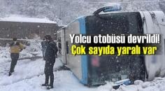 Zonguldak Ereğli'de Kar'dan Otobüs devrildi çok sayıda yarılı var!