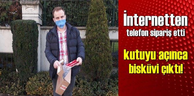 İnternetten telefon sipariş eden vatandaş kutuyu açınca bisküvi çıktı!