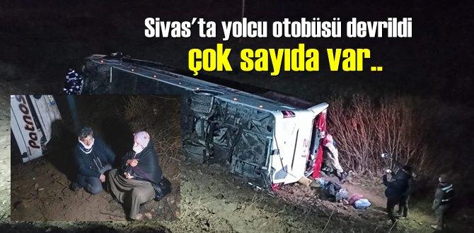 Akşam saatleri'nde Sivas'ta yolcu otobüsü devrildi çok sayıda yaralılar var!