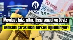 Mevduat faizi, altın, hisse senedi ve Döviz! Bankada parası olan herkesi ilgilendiriyor!