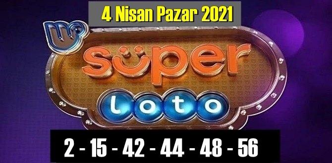 4 Nisan Pazar 2021/ Süper loto sonuçları: 2 – 15 – 42 – 44 – 48 – 56