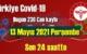 13 Mayıs 2021 Perşembe virüs verileri yayınlandı, tablo'da 238 Can kaybı gözüküyor!