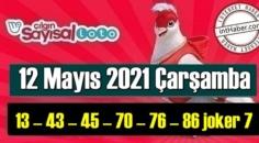 Sayısal Loto çekiliş sonuçları 12 Mayıs 2021 Çarşamba belli oldu! 13 – 43 – 45 – 70 – 76 – 86 joker 7 oldu